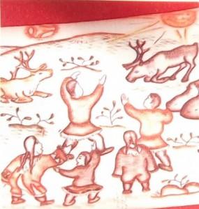 """чукотские косторезы. Галина Тынатваль. """"Сказка о белоснежном олене""""(фрагмент)1979"""