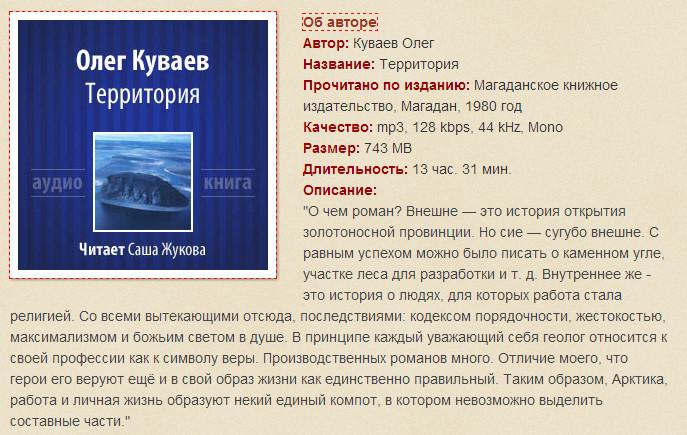 Олег Куваев. Территория.
